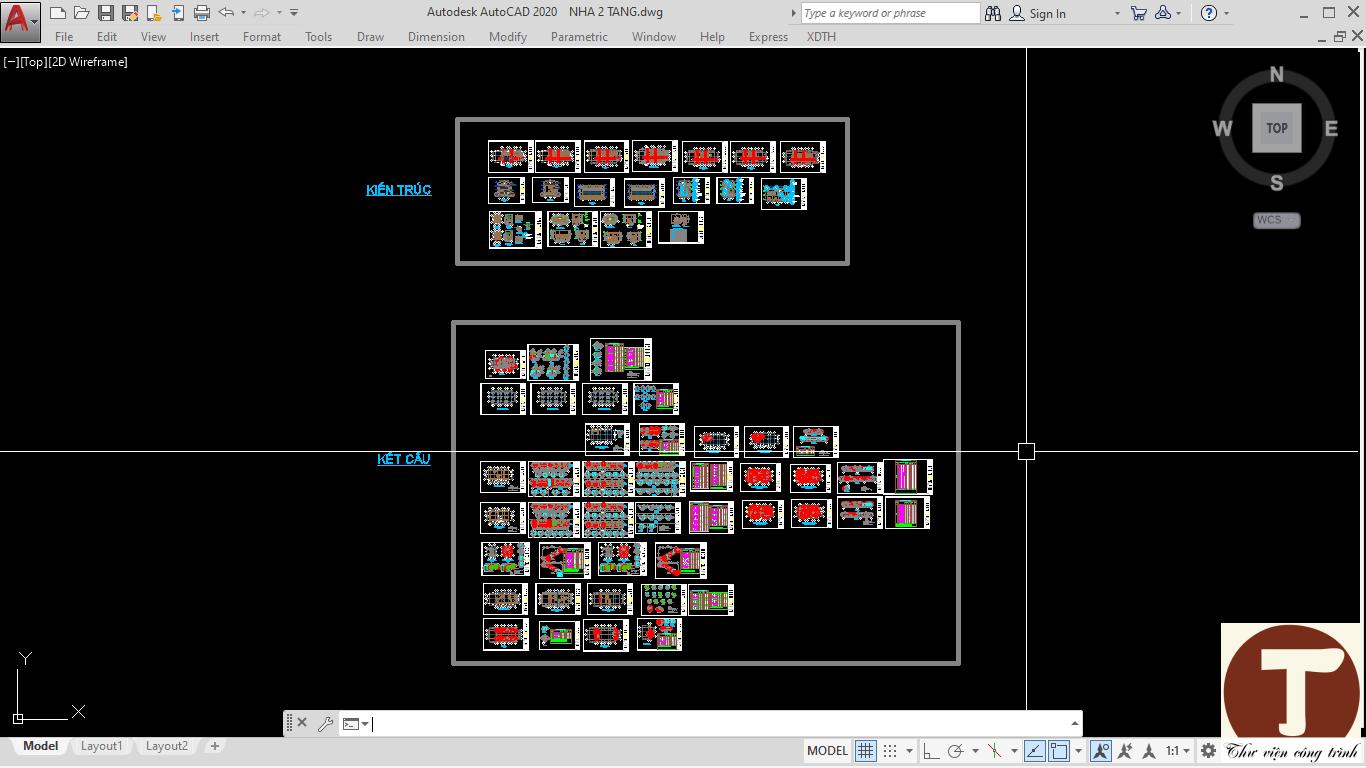 Toàn bộ nội dung bản vẽ nhà 2 tầng 8x18m