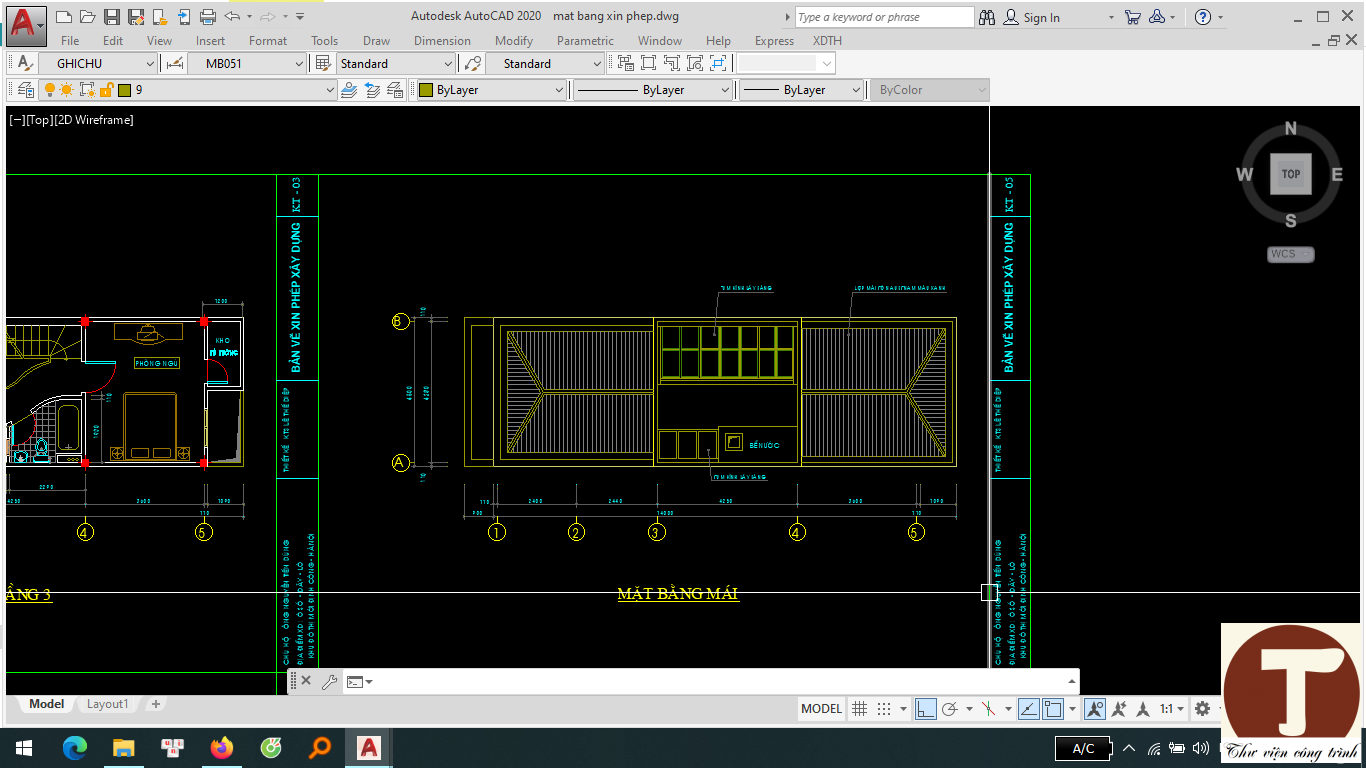 Hồ sơ cấp phép xây dựng nhà 3 tầng mặt bằng tầng mái
