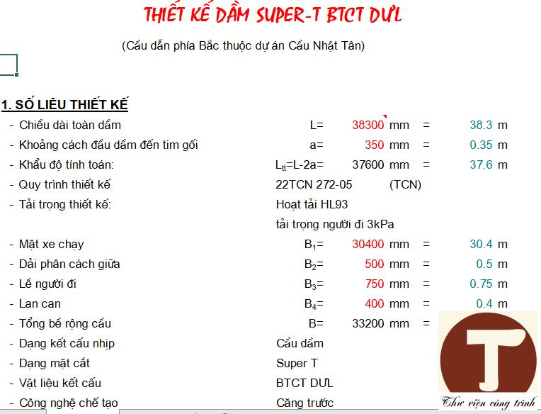 Số liệu đầu vào bản tính cầu dầm super T