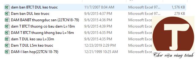 Các file bảng tính cầu theo 22TCN18 79
