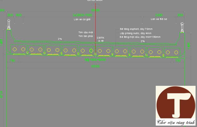 Mặt cắt ngang cầu gồm 10 dầm bản bề rộng cầu 10,5m
