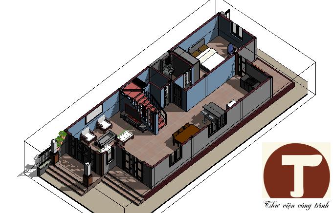 Bố trí nội thất tầng 1 3D