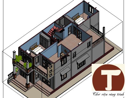 Bố trí nội thất tầng 2 3D